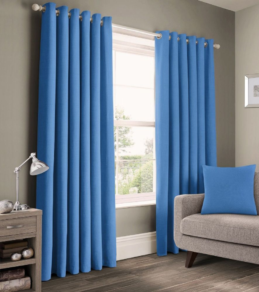 READY MADE PLAIN 100% COTTON MATERIAL UN-LINED RINGTOP EYELET PAIR OF CURTAINS BLUE